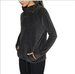 Athleta XS Grey Velour Cowl Neck Sweatshirt Active